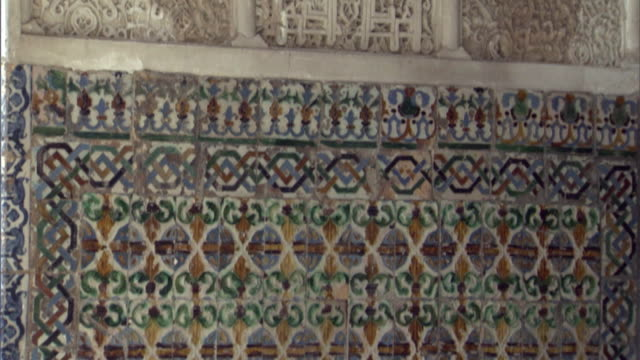 CU, TU, Architectural detail of Alcazar interior wall, Seville, Andalusia, Spain