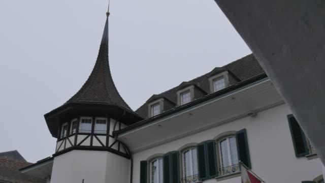 Architecture on Rathausplatz, Thun, Jungfrau region, Bernese Oberland, Swiss Alps, Switzerland, Europe