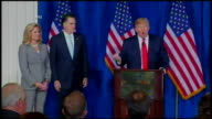 Archive footage of Donald Trump endorsing Mitt Romney in 2012 Exact date not known