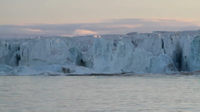 Arctic glacier calving at sunset, part two