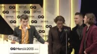 SPEECH Arctic Monkeys on receiving an award from GQ at the GQ Men of the Year Awards in London England UK on 9/3/13