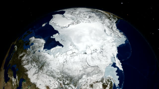 Arctic sea ice as measured with the AMSR-E instrument on the Aqua satellite. Alaska is in the foreground.