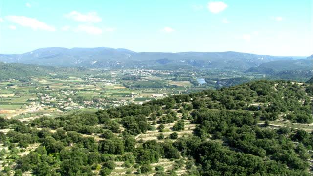 AERIAL, Ardeche river crossing rural landscape, Rhone-Alpes, France