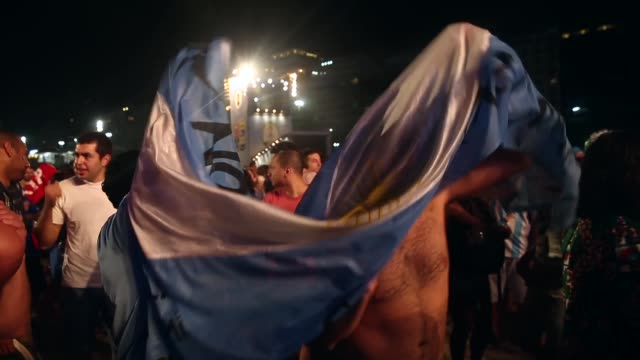 WS Argentina fans celebrate a victory at the FIFA Fan Fest on Copacabanaa Beach on June 15 2014 in Rio de Janeiro Brazil The match was played on the...