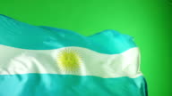 Argentina Flag on green screen - Super Slow Motion