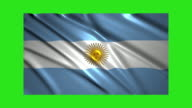 Argentina flag waving,loopable on green screen