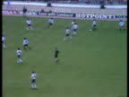 Argentina striker Diego Maradona receives pass with back to goal turns and dribbles past four England defenders before nudging ball past England...