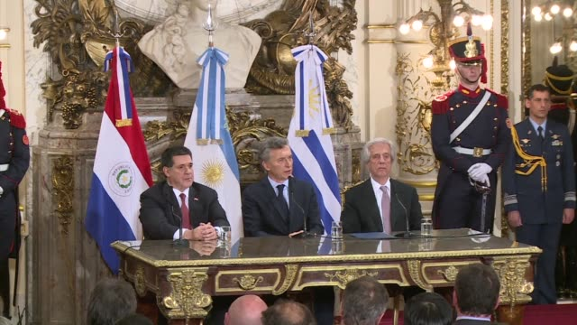 Argentina Uruguay and Paraguay will form a joint bid to host the 2030 World Cup which will mark the tournament's 100 year anniversary the presidents...