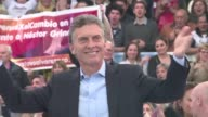 Argentinas conservative presidential candidate Mauricio Macri currently the mayor of Buenos Aires launches his campaign in front of thousands of...