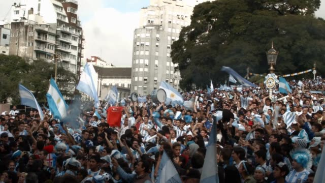Argentine fans reacting to the German World Cup Soccer match being played in Rio de Janeiro Brazil on June 13th 2014