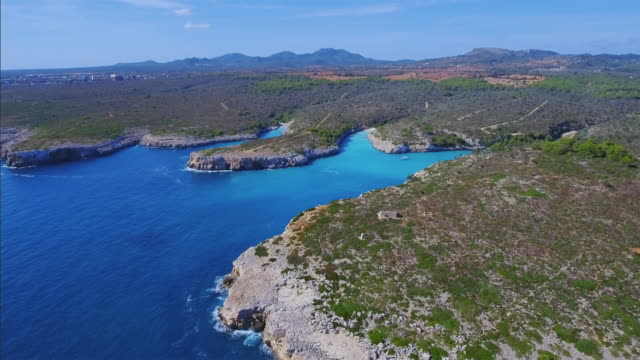 Arial View of calas of east coast on Spanish Balearic island of Majorca / Spain