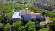 Arial View of monastery Santuario de la Consolacion and Quarry near by Alqueria Blanca , Majorca / Spain