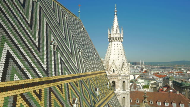 Arial view of Vienna from Stephansdon Church viewing platform.Pan L to R.