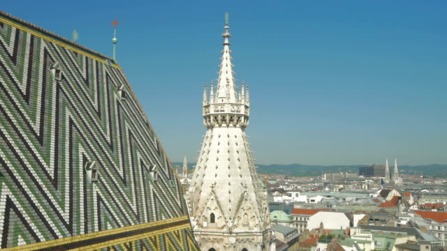 Arial view of Vienna from Stephansdon Church viewing platform.Pan out.