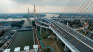 Ariel Shot Traffic at the Bhumibol Bridge