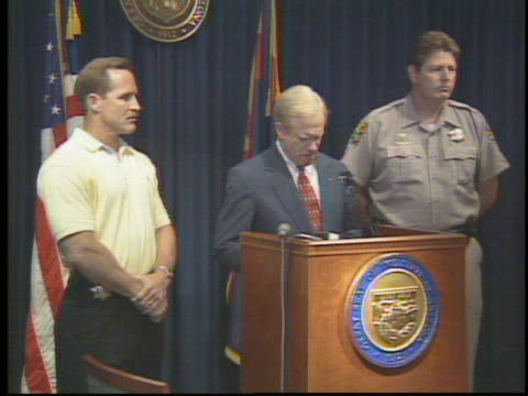 Arizona Governor Fife Symington holds a newser to talk about the mysterious lights seen over Phoenix in March of 1997
