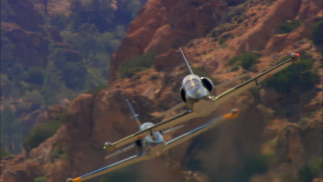 AIR TO AIR, CU, USA, Arizona, Grand Canyon, Two Aero L-39 Albatrosses flying  above canyon