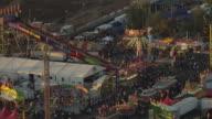WS AERIAL DS Arizona State Fair rides and entire fairgrounds / Phoenix, Arizona, United States