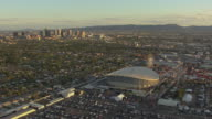 WS AERIAL Arizona State Fair with downtown / Phoenix, Arizona, United States