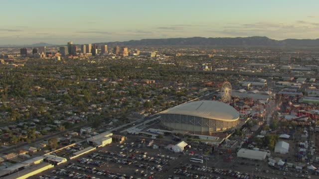 WS AERIAL Arizona State Fair with downtown / Phoenix, Arizona, United States