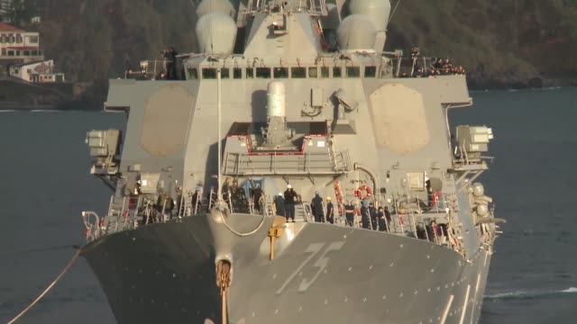 Arleigh Burkeclass guidedmissile destroyer USS Donald Cook that on the 11th of February 2014 has arrived at its new station in Rota Spain The...
