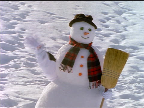 Arm from person behind snowman waving + taking off hat