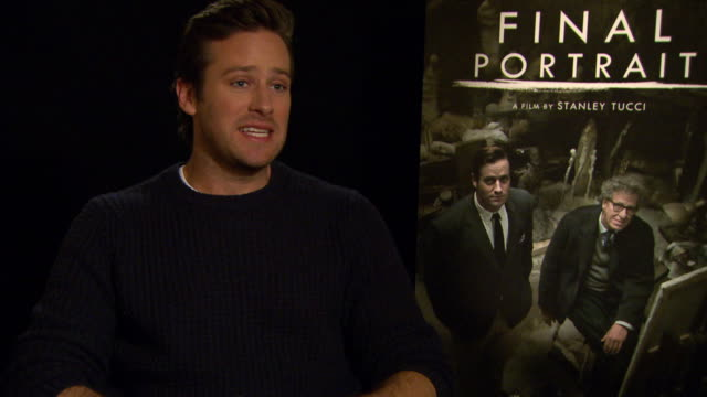 INTERVIEW Armie Hammer on accepting the role and on sitting on a chair during the film at Berlin Film Festival 'Final Portrait' Interviews at...