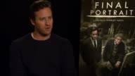 INTERVIEW Armie Hammer on enjoying the time filming and on working with Geoffrey Rush at Berlin Film Festival 'Final Portrait' Interviews at...