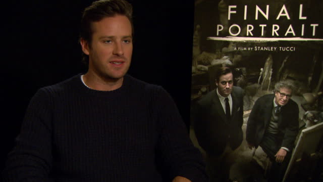INTERVIEW Armie Hammer on not sleeping at night because of his children at Berlin Film Festival 'Final Portrait' Interviews at Berlinale Palast on...
