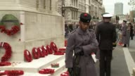 Armistice Day at the Cenotaph Closeup wreaths / Military men standing / More wreaths placed / Closeup veterans during speech / Pan poppy wreaths /...