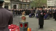 Armistice Day at the Cenotaph Man reads poem SOT