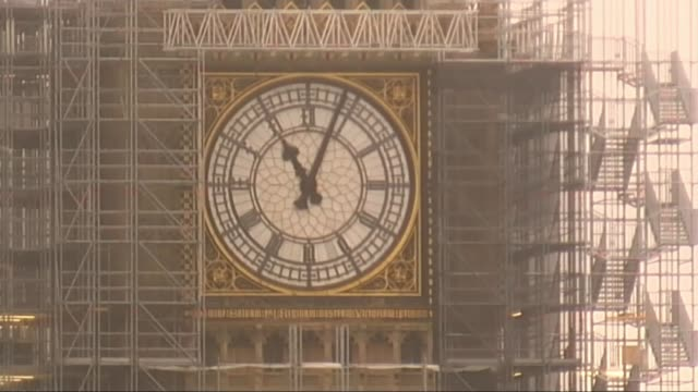 Armistice Day ceremonies held around the UK ENGLAND London Close shot of clock face of Big Ben as minute hand passes 11AM/ Cardiff EXT Carwyn Jones...