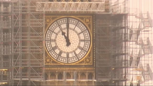 Ceremonies held around the UK to commemorate ENGLAND London Westminster EXT Big Ben clock tower as chimes heard at 11am on Armistice Day SOT Wide...