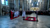 Prince Philip visit to Westminster Abbey INT Various shots of service underway inside Westminster Abbey Prince Philip lays wreath at the Tomb of the...