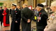 Prince Philip visit to Westminster Abbey Various shots of Prince Philip chatting to young soldiers veterans Close Shot of medals on veteran's chest...