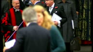 Westminster Abbey service departures Former Prime Minister Sir John Major leaving Abbey with Lady Thatcher / Lord mandelson departure/ David Cameron...