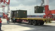 US Army landing craft units coming from Okinawa Japan carrying ammunition to support training events during Exercise Balikatan 2014 arrive at Subic...