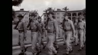 WS PAN Army soldiers lining up at attention at military base / Hawaii, United States