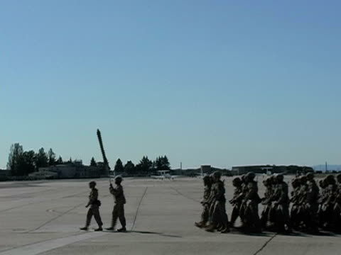 US Army Soldiers marching in formation; 2005