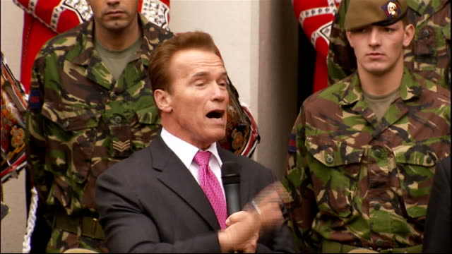 Arnold Schwarzenegger and David Cameron visit Wellington Barracks Arnold Schwarzenegger speech SOT Thanks Cameron for the invitation / I'm always...