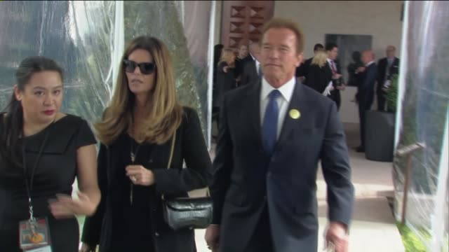 KTLA Arnold Schwarzenegger and Maria Shriver Arrive At Nancy Regan's Funeral