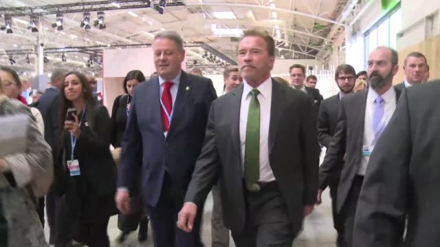 Arnold Schwarzenegger arrives at the COP21 climate change conference near Paris