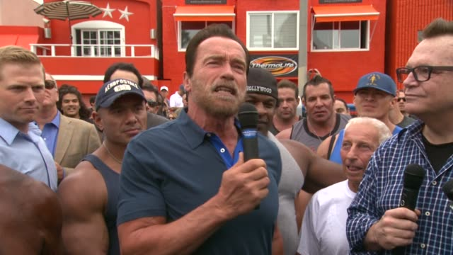 SPEECH Arnold Schwarzenegger at Arnold Schwarzenegger Celebrates The Launch Of The Arnold Series By MusclePharm Hosted By Muscle Fitness Magazine on...