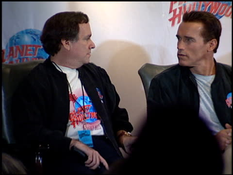 Arnold Schwarzenegger at the Planet Hollywood Press Conf and entrances on September 17 1995
