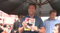 CHYRON Arnold Schwarzenegger Celebrates The Launch Of The Arnold Series By MusclePharm Hosted By Muscle Fitness Magazine Los Angeles CA United States...