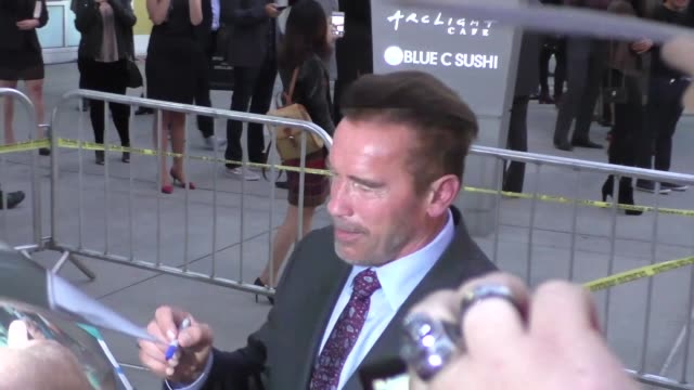 Arnold Schwarzenegger greets fans outside the Mr Church Premiere at ArcLight Theatre in Hollywood in Celebrity Sightings in Los Angeles