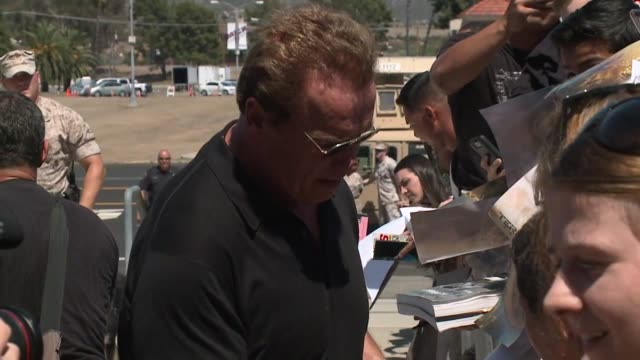 KSWB Arnold Schwarzenegger visited hundreds of Marines at Camp Pendleton on June 14 2015 and gave them an advanced screening of his latest action...