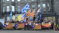 Around 100 Scots and Catalans demonstrate outside the Spanish Consulate in Edinburgh to demand a referendum on Catalonia's independence and show...