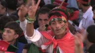 Around 20000 supporters of Pakistan's main opposition leader Imran Khan crowd into an arena for a rally dubbed the Thanksgiving Rally to celebrate...