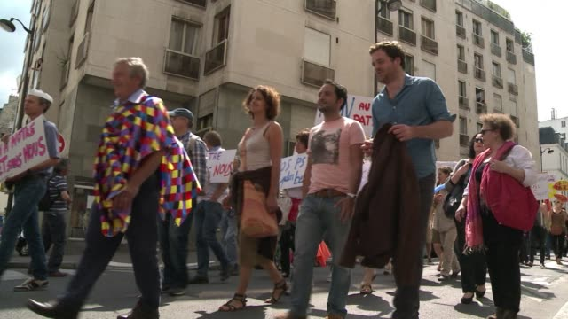 Around 500 demonstrators take to the streets of Paris for the first edition of the Mad Pride calling for more respect for the dignity of people with...